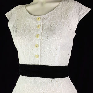 Floral Eyelet Cotton Sun Dress Bow Belt